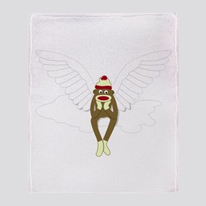 Sock Monkey Guardian Angel Throw Blanket
